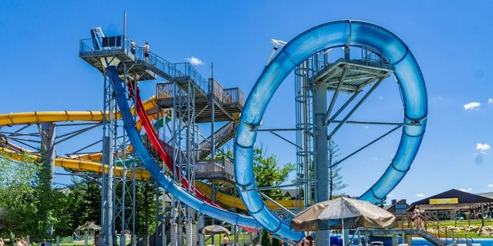Large Multi Colored Water Park Slides